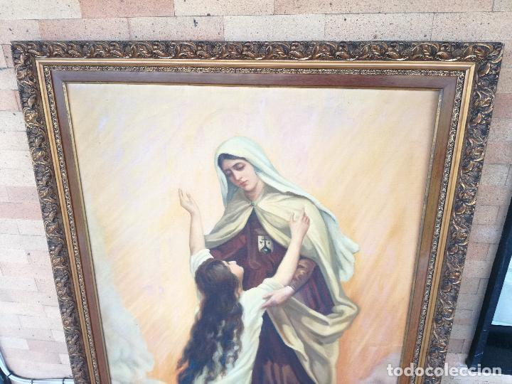 Arte: GRAN PINTURA OLEO SOBRE LIENZO- VIRGEN DEL CARMEN - ESCUELA ESPAÑOLA AÑO 1916 - MARCO: 146X106CM - Foto 14 - 219538308