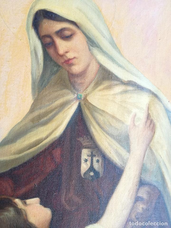 Arte: GRAN PINTURA OLEO SOBRE LIENZO- VIRGEN DEL CARMEN - ESCUELA ESPAÑOLA AÑO 1916 - MARCO: 146X106CM - Foto 15 - 219538308