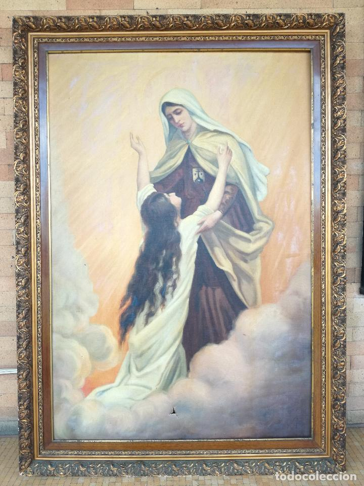 ANTIGUO OLEO SOBRE LIENZO VIRGEN DEL CARMEN - ESCUELA ESPAÑOLA FECHADO AÑO 1916 - MARCO 146 X 106 CM (Arte - Arte Religioso - Pintura Religiosa - Oleo)