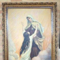 Arte: GRAN PINTURA OLEO SOBRE LIENZO- VIRGEN DEL CARMEN - ESCUELA ESPAÑOLA AÑO 1916 - MARCO: 146X106CM. Lote 219538308