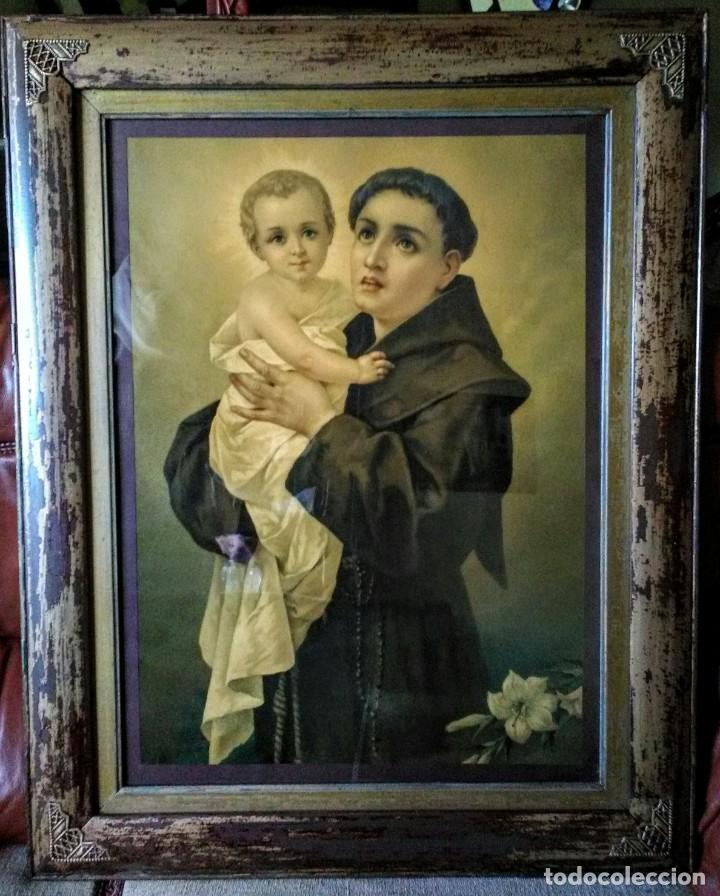 MARCO ANTIGUO CON LÁMINA DE SAN ANTONIO (Arte - Arte Religioso - Litografías)