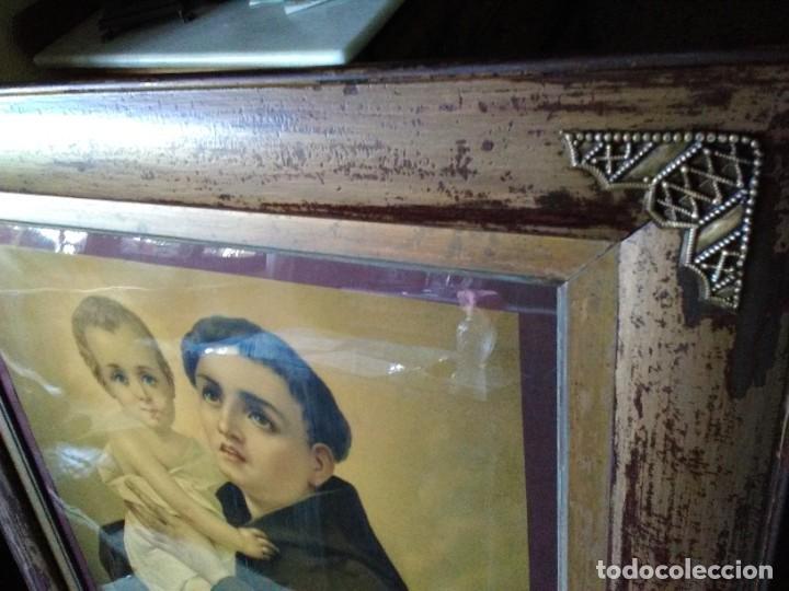 Arte: Marco antiguo con Lámina de San Antonio - Foto 2 - 219544385
