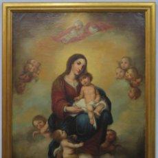 Art: PRECIOSA VIRGEN DEL ROSARIO CON NIÑO JESUS. OLEO S/ LIENZO. ESCUELA ESPAÑOLA. SIGLO XIX. Lote 219588585
