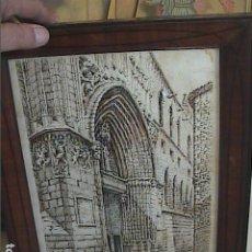 Arte: EXCELENTE Y ANTIGUO DIBUJO A DOS TINTAS. DESIDERIO JUSTE . PUERTA DE SAN IVO. CATEDRAL DE BARCELONA.. Lote 219640016