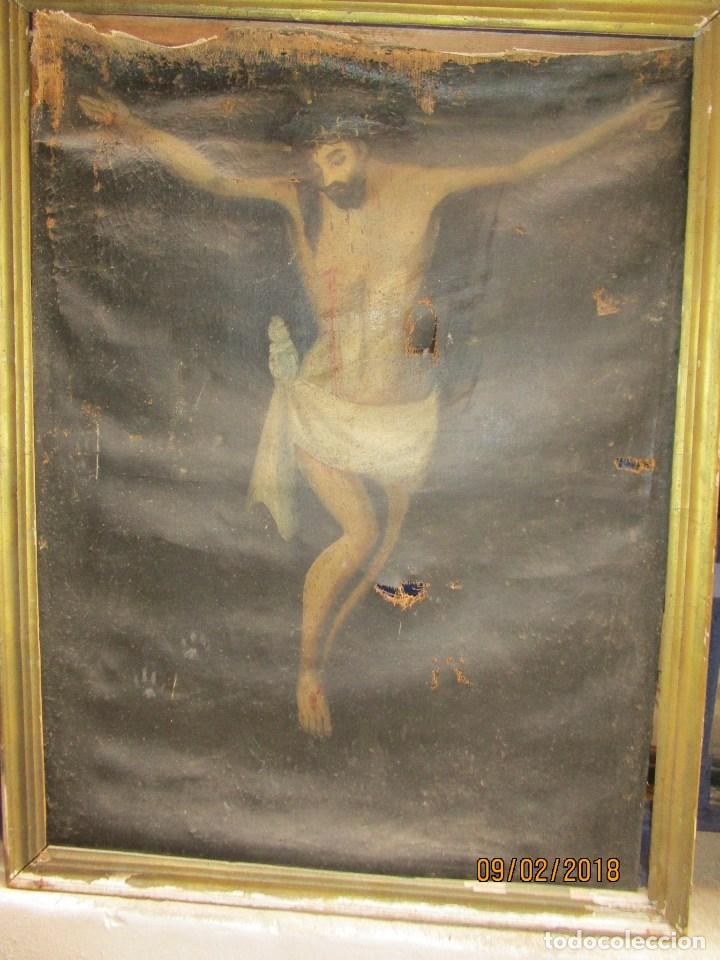 PINTURA RELIGIOSA ANTIGUA CRISTO OLEO ESCUELA CASTELLANA NECESITA RESTAURACION (Arte - Arte Religioso - Pintura Religiosa - Oleo)