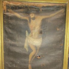 Arte: PINTURA RELIGIOSA ANTIGUA CRISTO OLEO ESCUELA CASTELLANA NECESITA RESTAURACION. Lote 202860090