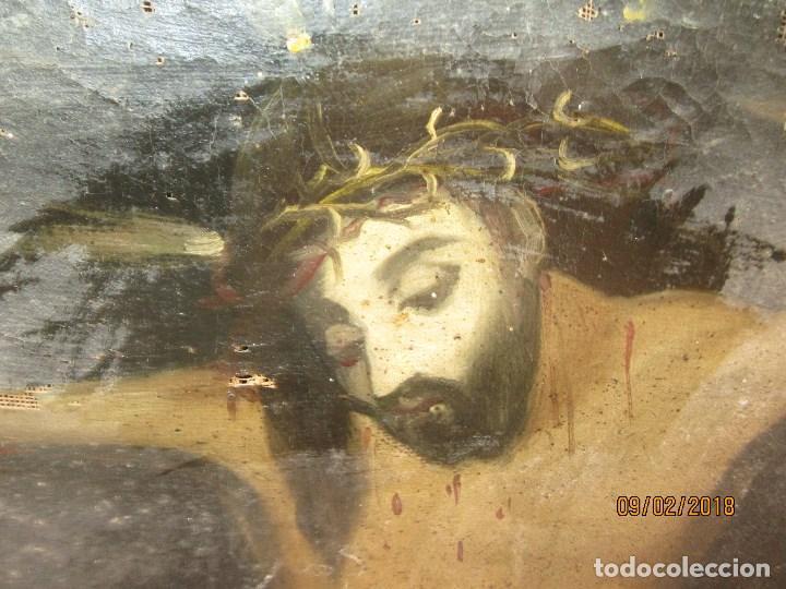 Arte: PINTURA RELIGIOSA ANTIGUA cristo oleo ESCUELA CASTELLANA NECESITA RESTAURACION - Foto 2 - 202860090