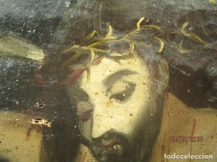 Arte: PINTURA RELIGIOSA ANTIGUA cristo oleo ESCUELA CASTELLANA NECESITA RESTAURACION - Foto 18 - 202860090