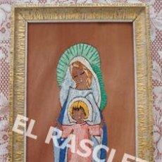 Arte: ANTIGUO CUADRO BORDADO SOBRE CHAPA DE MADERA - LA VIRGEN CON EL NIÑO - AÑOS 60 -. Lote 219723842