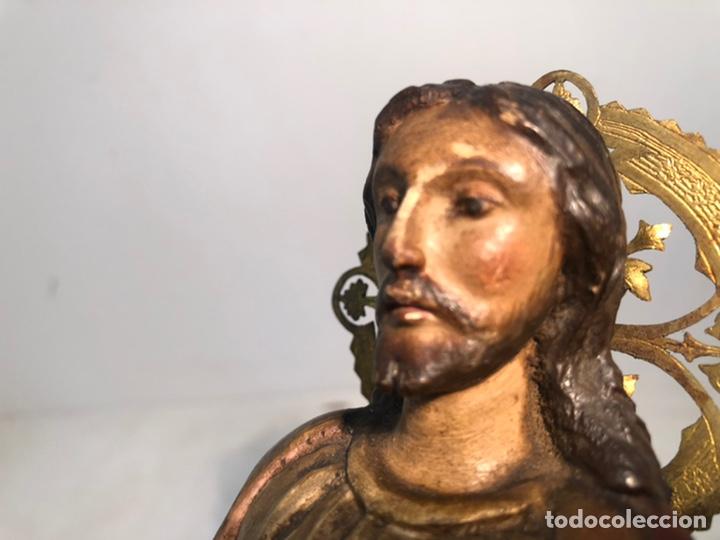 Arte: BONITO SAGRADO CORAZON DE TALLA DE MADERA ANTIGUO. 30CM. SIGLO XIX - Foto 5 - 219817051