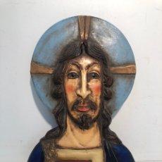 Arte: BONITO PLAFON DE JESUCRISTO DE TERRACOTA ANTIGUO POLICROMADO. FIMADO ROCA SADURNI.. Lote 219821211
