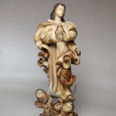 Arte: FIGURA VIRGEN ESTUCO Y PLOMO 36 CM-ROSÉS PUERTA DEL ANGEL 15 BARCELONA -REF-DC. Lote 219897103