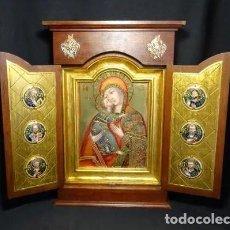 Arte: MAGNIFICO TRIPTICO JOYERIA MORATO. VIRGEN ICONO BIZANTINO, SIGLO XVII. ESMALTE FUEGO ALTA COLECCIÓN. Lote 219907340