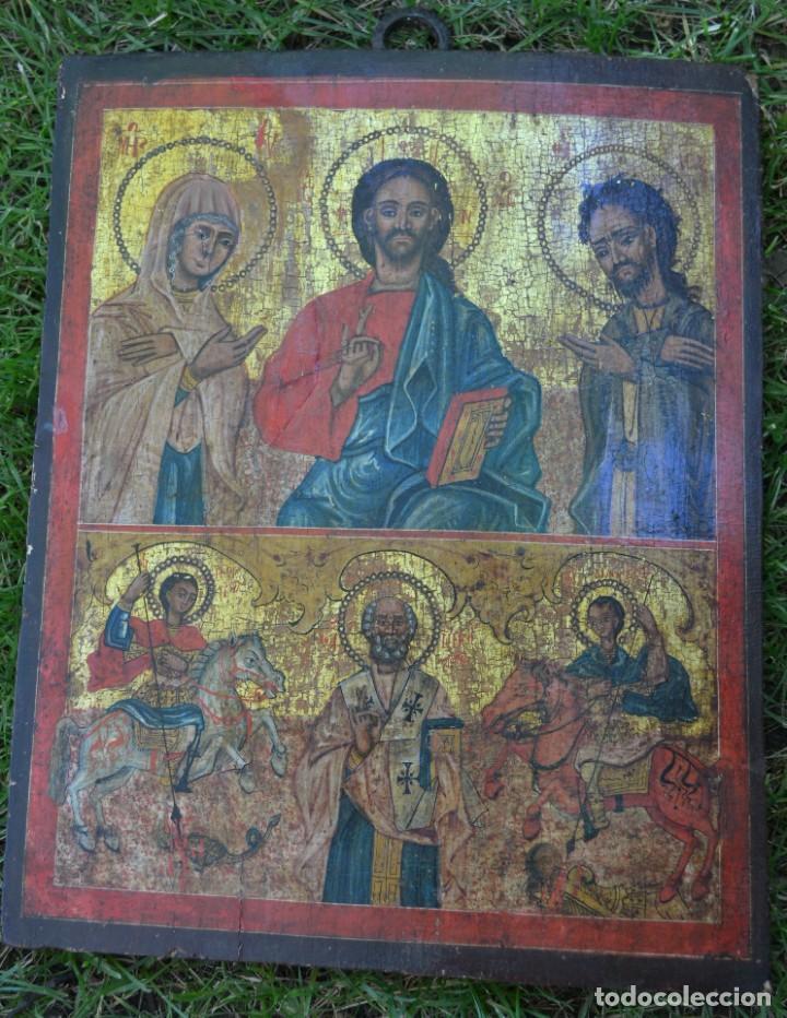 ICONO RUSO. ESCUELA MONASTICA. SIGLO XIX. REPRESENTA A CRISTO Y LA VIRGEN. ESCUELA NOVGOROD (Arte - Arte Religioso - Iconos)