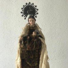 Arte: VIRGEN DEL CARMEN CON EL NIÑO JESÚS. IMAGEN VESTIDERA CAP I POTA. S.XIX.. Lote 220315231