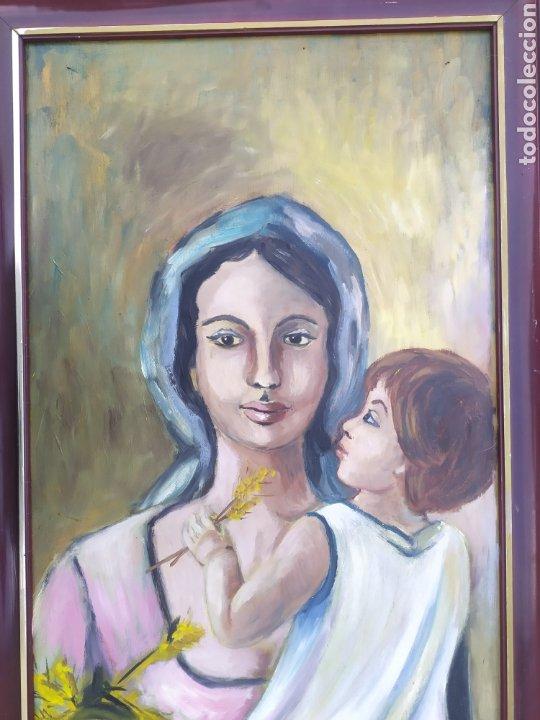 Arte: La virgen María con el niño Jesús en brazos, óleo firmado - Foto 2 - 220396837