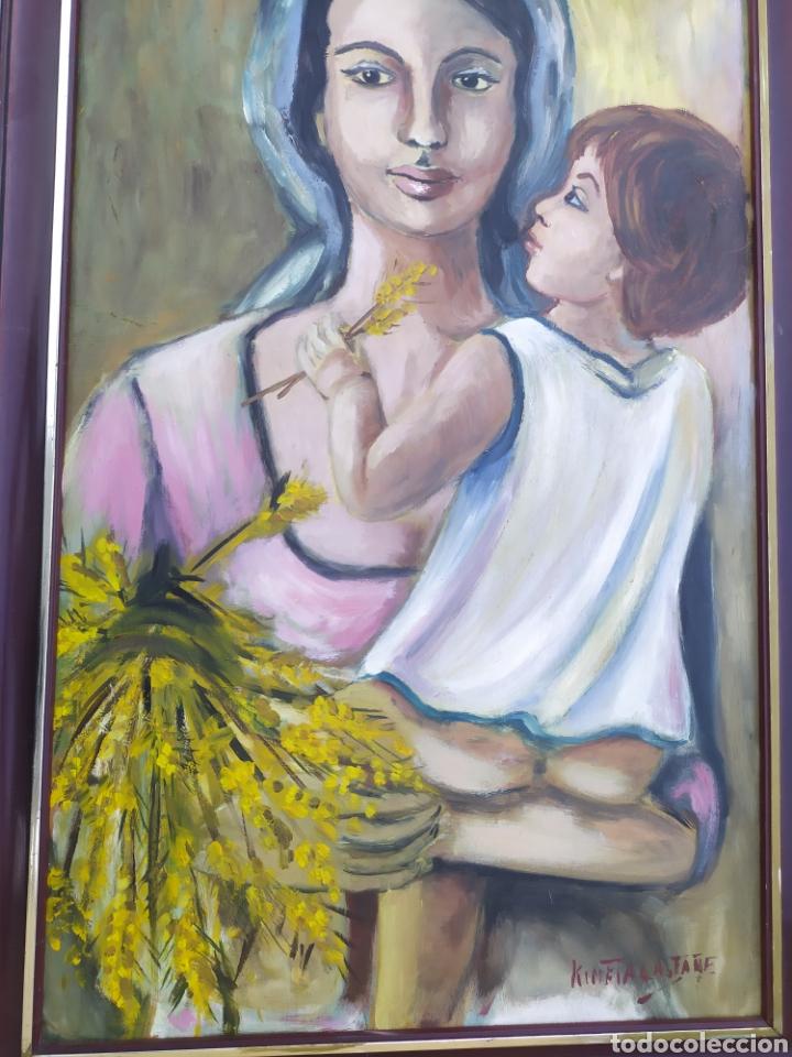 Arte: La virgen María con el niño Jesús en brazos, óleo firmado - Foto 3 - 220396837
