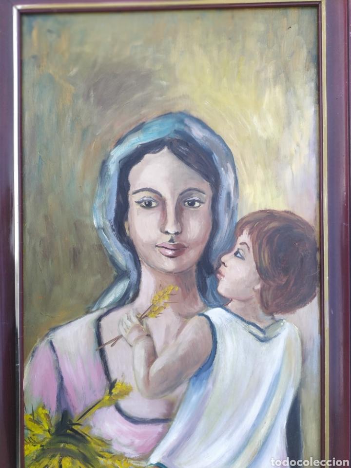 Arte: La virgen María con el niño Jesús en brazos, óleo firmado - Foto 5 - 220396837
