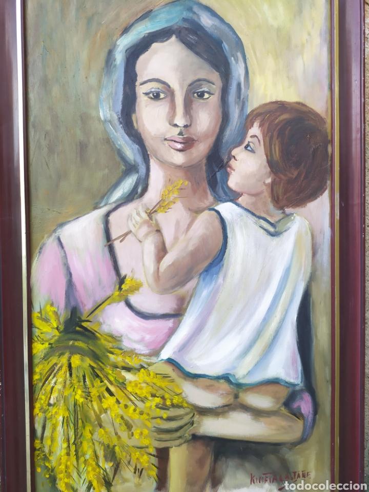 LA VIRGEN MARÍA CON EL NIÑO JESÚS EN BRAZOS, ÓLEO FIRMADO (Arte - Arte Religioso - Pintura Religiosa - Oleo)