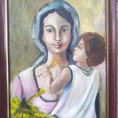 Arte: LA VIRGEN MARÍA CON EL NIÑO JESÚS EN BRAZOS, ÓLEO FIRMADO. Lote 220396837