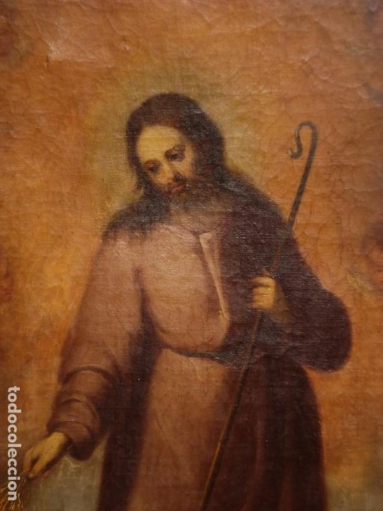 EL BUEN PASTOR O DIVINO PASTOR MAGNÍFICO LIENZO DEL SXIX GRANDES MEDIDAS (Arte - Arte Religioso - Pintura Religiosa - Oleo)