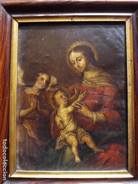 NATIVIDAD DE LA VIRGEN CON EL NIÑO Y ÁNGEL COBRE POLICROMADO SXVIII (Arte - Arte Religioso - Pintura Religiosa - Oleo)