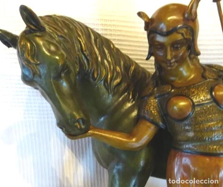 Arte: 55 cmts. Escultura terracota.Art Nouveau. Diosa Minerva. - Foto 2 - 220471896