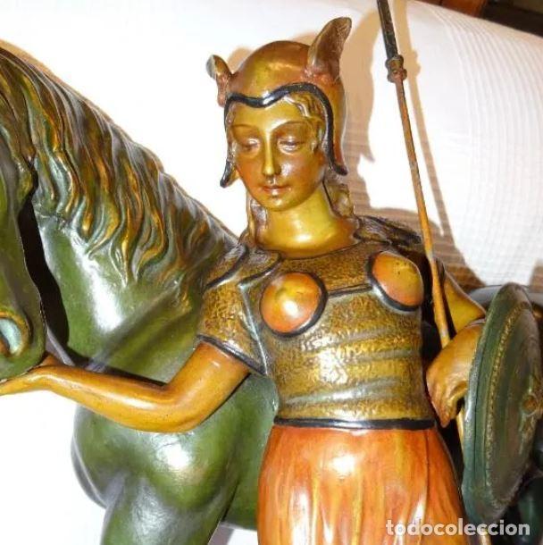 Arte: 55 cmts. Escultura terracota.Art Nouveau. Diosa Minerva. - Foto 4 - 220471896