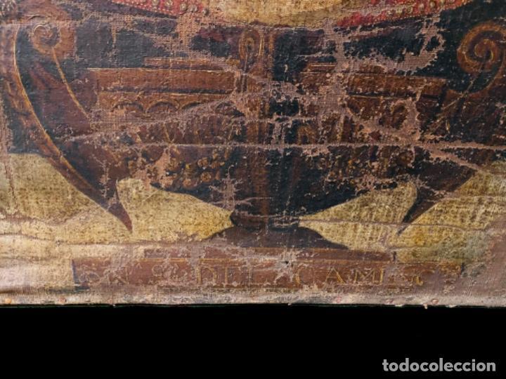 Arte: Antiguo óleo sobre lienzo, nuestra señora del Camino. Virgen. Siglo XVII.100x80 - Foto 3 - 220518227
