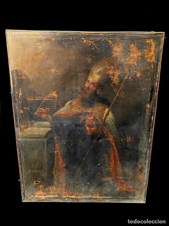 ANTIGUO ÓLEO SOBRE LIENZO DE SAN AGUSTÍN DE HIPONA. SIGLO XVII. 110X85 (Arte - Arte Religioso - Pintura Religiosa - Oleo)