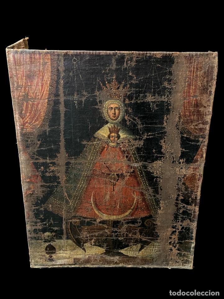 ANTIGUO ÓLEO SOBRE LIENZO, NUESTRA SEÑORA DEL CAMINO. VIRGEN. SIGLO XVII.100X80 (Arte - Arte Religioso - Pintura Religiosa - Oleo)