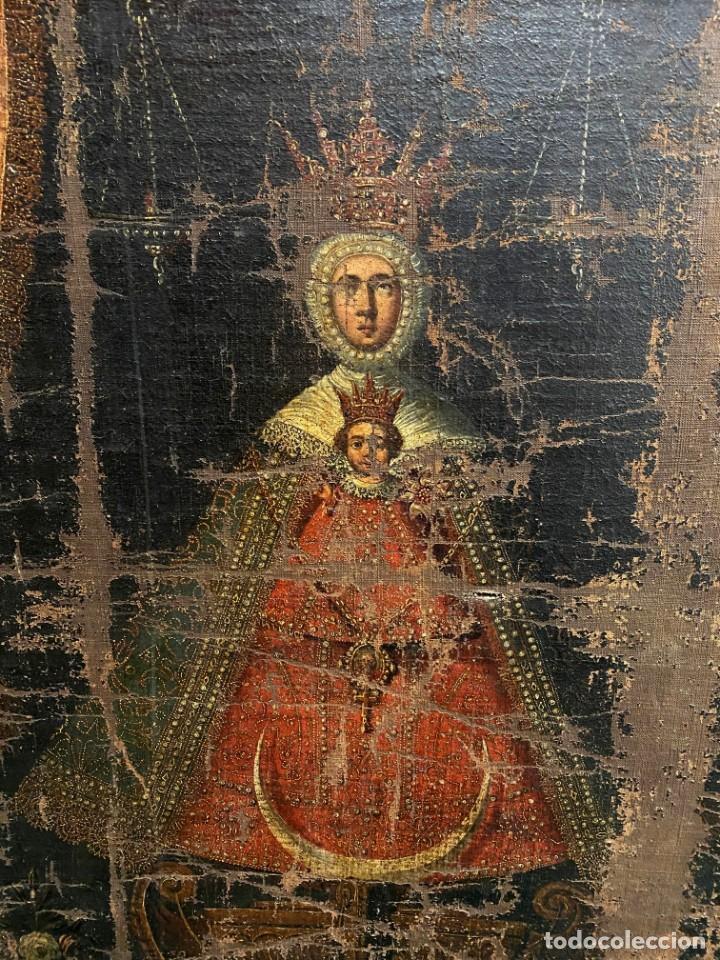 Arte: Antiguo óleo sobre lienzo, nuestra señora del Camino. Virgen. Siglo XVII.100x80 - Foto 2 - 220518227