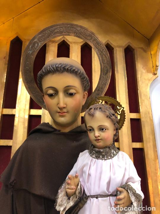 Arte: ESPECTACULAR SAN ANTONIO TALLA MADERA SIGLO XIX CAP Y POTA - MEDIDA COMPLETO 97 CM - RELIGIOSO - Foto 2 - 220581138