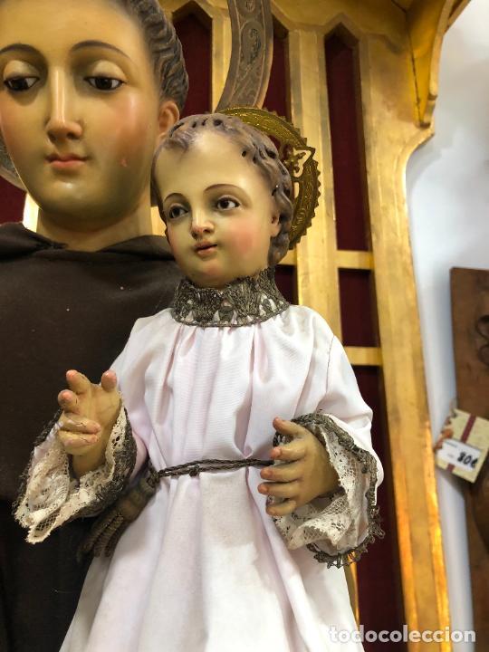 Arte: ESPECTACULAR SAN ANTONIO TALLA MADERA SIGLO XIX CAP Y POTA - MEDIDA COMPLETO 97 CM - RELIGIOSO - Foto 3 - 220581138