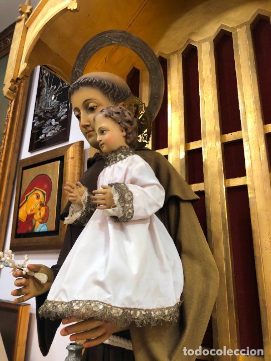 Arte: ESPECTACULAR SAN ANTONIO TALLA MADERA SIGLO XIX CAP Y POTA - MEDIDA COMPLETO 97 CM - RELIGIOSO - Foto 7 - 220581138