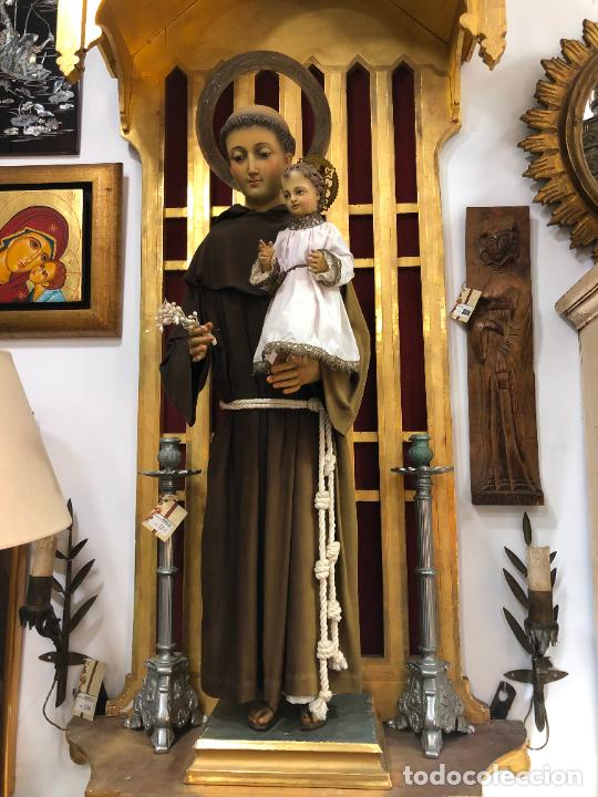 ESPECTACULAR SAN ANTONIO TALLA MADERA SIGLO XIX CAP Y POTA - MEDIDA COMPLETO 97 CM - RELIGIOSO (Arte - Arte Religioso - Escultura)