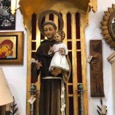 Arte: ESPECTACULAR SAN ANTONIO TALLA MADERA SIGLO XIX CAP Y POTA - MEDIDA COMPLETO 97 CM - RELIGIOSO. Lote 220581138