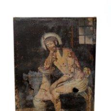 Arte: IMPORTANTE CRISTO ATADO A COLUMNA Y ENCARCELADO. PINTURA GÓTICA PARA RESTAURAR. SIGLO XV-XVI.160X108. Lote 220556385