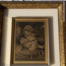 Arte: GRABADO RELIGIOSO EN COBRE ENMARCADO AÑOS 80 LA VIRGEN Y EL NIÑO A. SOLARI. Lote 220671858