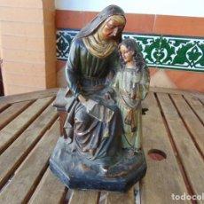 Arte: FIGURA EN ESTUCO SELLADA OLOT DE SANTA ANA ENSEÑANDO A LEER A LA VIRGEN MARIA RESTAURAR. Lote 220877285