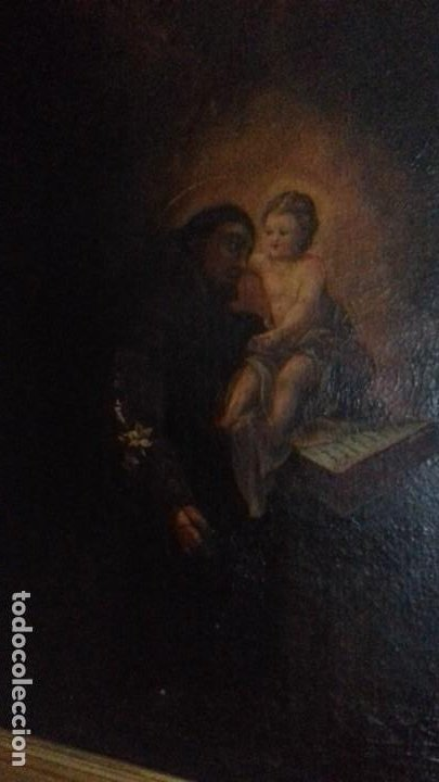 Arte: SAN ANTONIO CON NIÑO. ESCUELA ESPAÑOLA. MARCO EXCELENTE. LIENZO 86X63. - Foto 2 - 200317913