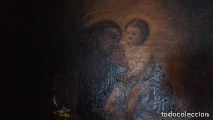Arte: SAN ANTONIO CON NIÑO. ESCUELA ESPAÑOLA. MARCO EXCELENTE. LIENZO 86X63. - Foto 4 - 200317913