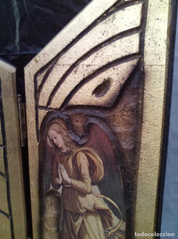 Arte: PRECIOSO RETABLO RELIGIOSO TRIPTICO EN MADERA - Foto 6 - 221091433