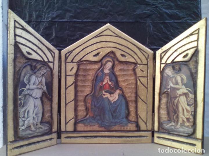 PRECIOSO RETABLO RELIGIOSO TRIPTICO EN MADERA (Arte - Arte Religioso - Trípticos)