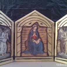 Arte: PRECIOSO RETABLO RELIGIOSO TRIPTICO EN MADERA. Lote 221091433