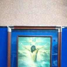 Art: CUADRO LITOGRAFÍA EN CHAPA ESMALTADA DE JESUCRISTO,EXPUESTA SOBRE CRISTAL Y ENMARCADO EN MADERA.. Lote 221294827