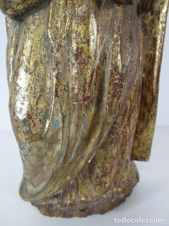 Arte: Antigua Virgen del Pilar - Talla de Madera Policromada - con Paloma - 57 cm Altura - S. XVII-XVIII - Foto 2 - 221333597