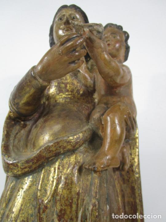 Arte: Antigua Virgen del Pilar - Talla de Madera Policromada - con Paloma - 57 cm Altura - S. XVII-XVIII - Foto 4 - 221333597