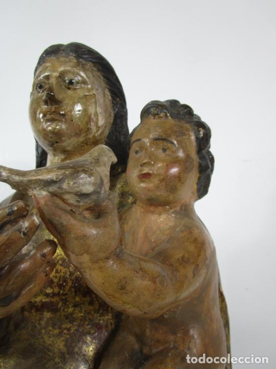 Arte: Antigua Virgen del Pilar - Talla de Madera Policromada - con Paloma - 57 cm Altura - S. XVII-XVIII - Foto 7 - 221333597