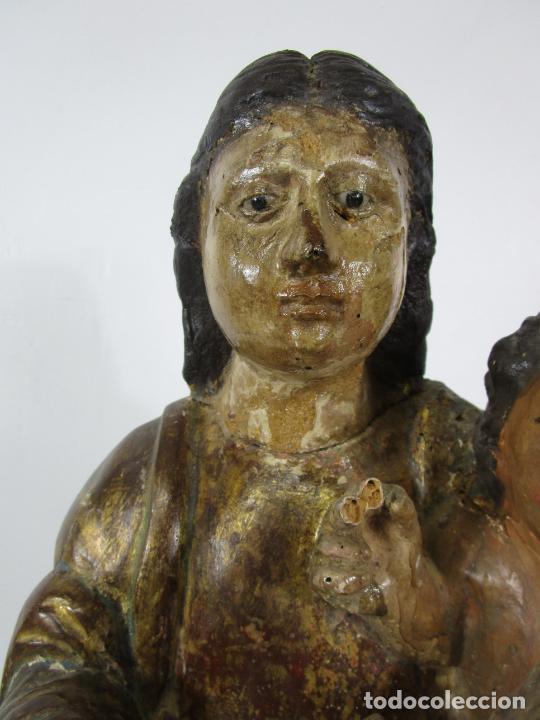 Arte: Antigua Virgen del Pilar - Talla de Madera Policromada - con Paloma - 57 cm Altura - S. XVII-XVIII - Foto 8 - 221333597